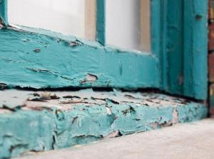 Peeling paint on window sill