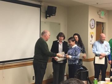 DEOHS Chair, Dr. Yost, presents certificates!